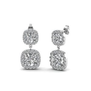 Halo Diamond Drop Earring For Women In 18K White Gold