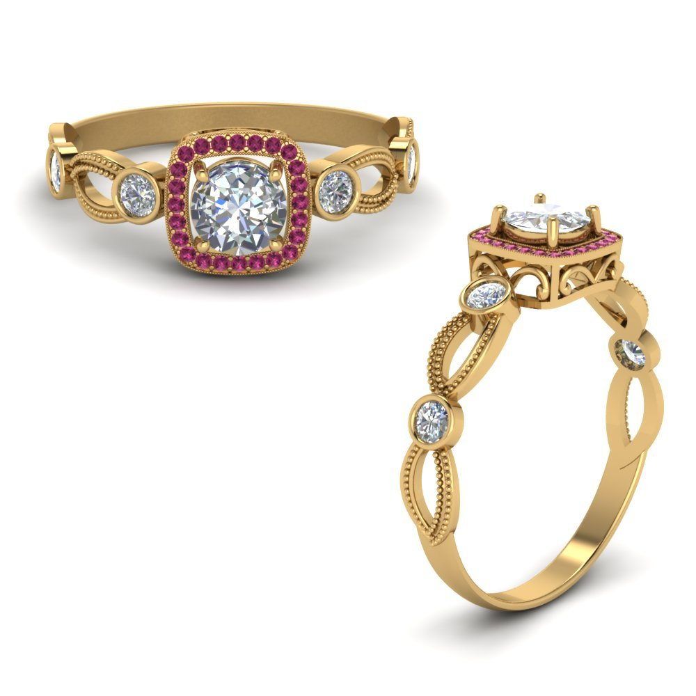 Halo Diamond Mom Ring With Pink Sapphire In 14K Yellow Gold