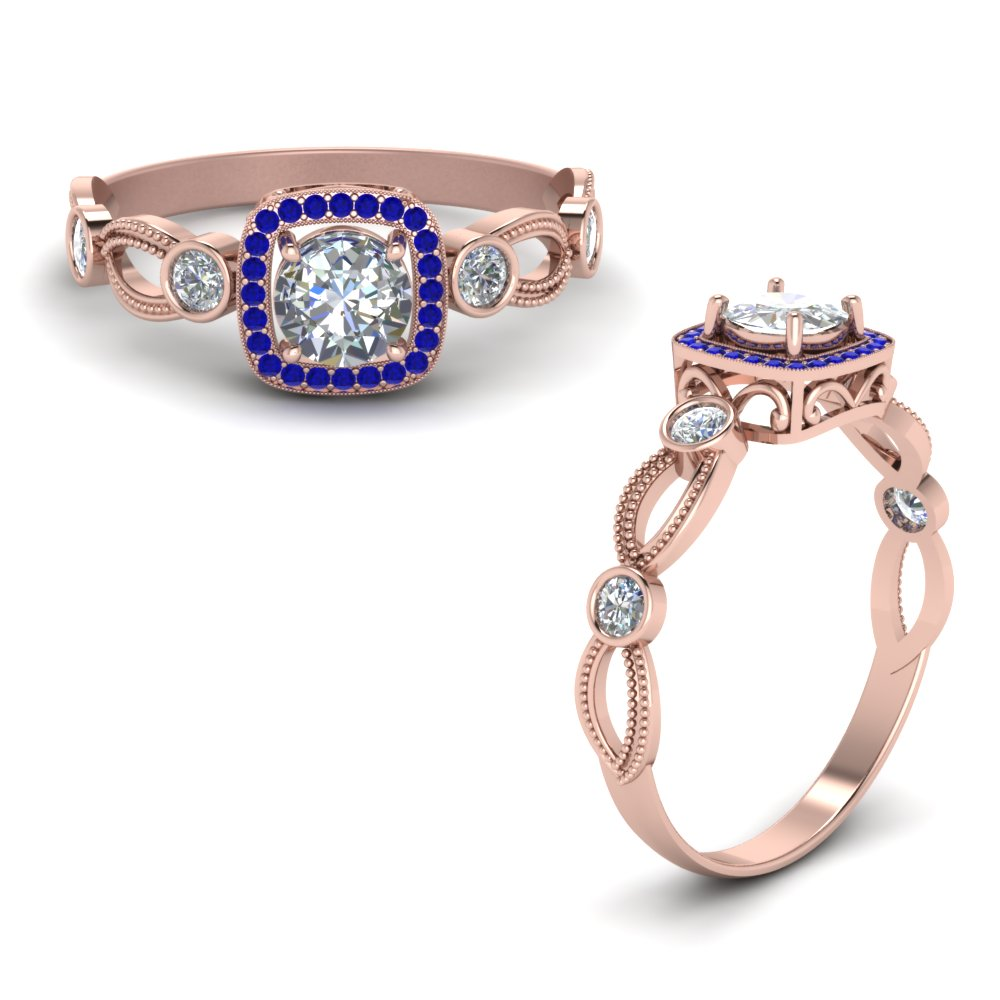 Halo Diamond Mom Ring With Sapphire In 14K Rose Gold