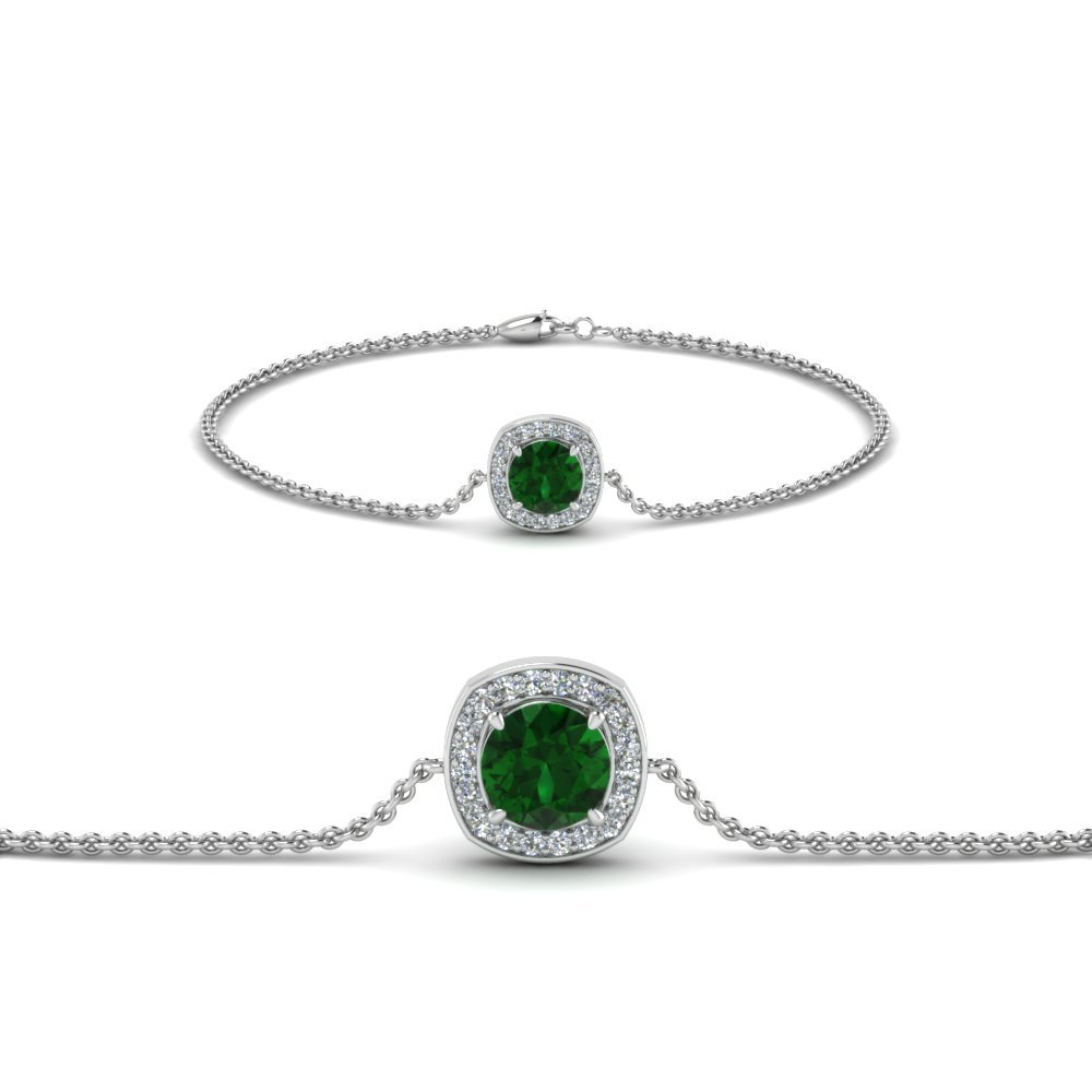 Emerald Halo Diamond Chain Bracelet