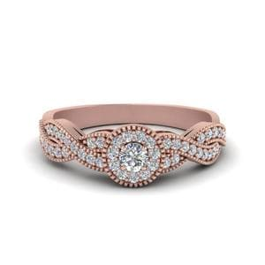 Halo Infinity Diamond Engagement Ring In 18K Rose Gold