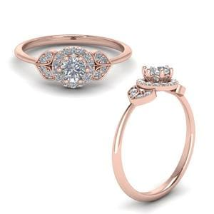 Halo Leaves Diamond Engagement Ring In 14K Rose Gold