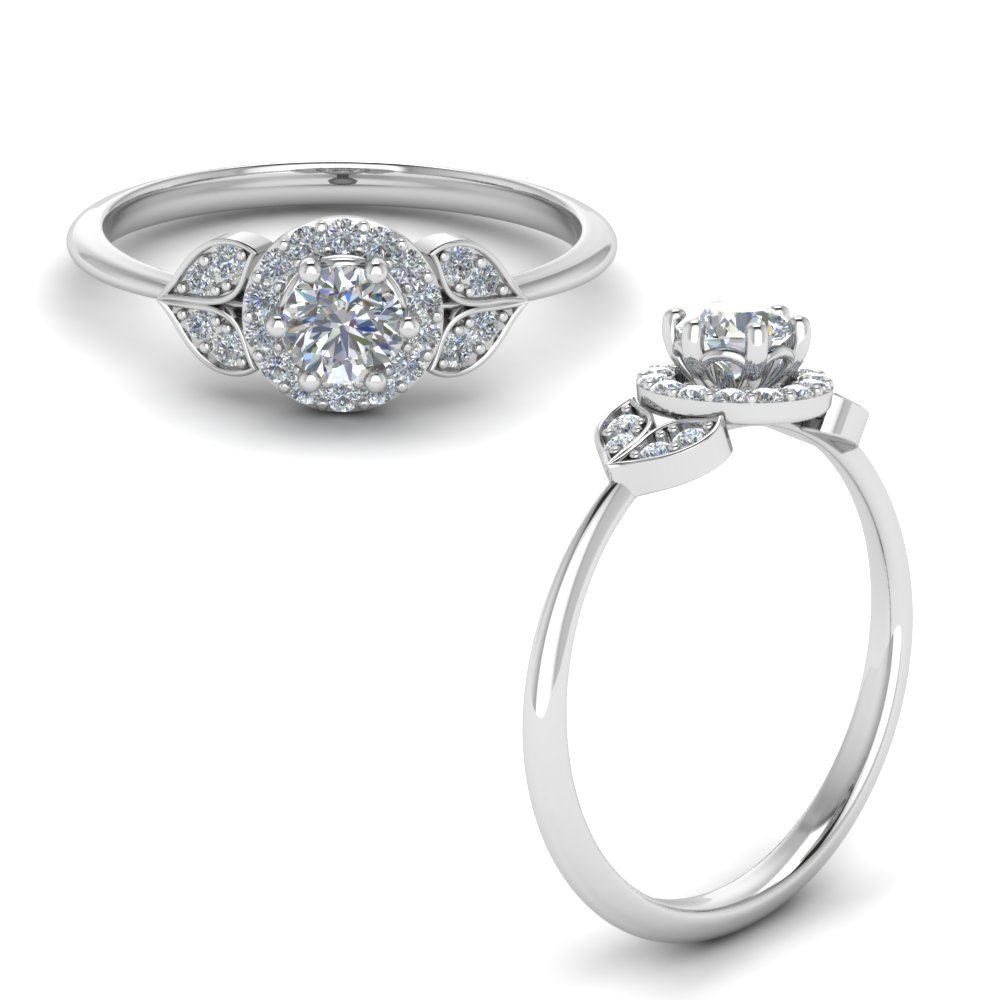 Halo Leaves Diamond Engagement Ring In 18K White Gold