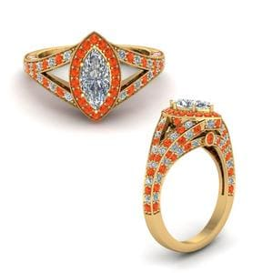 Under Halo Orange Topaz Ring