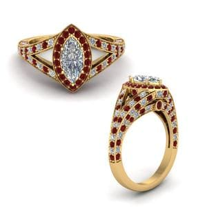 Hidden Halo Pave Ruby Ring