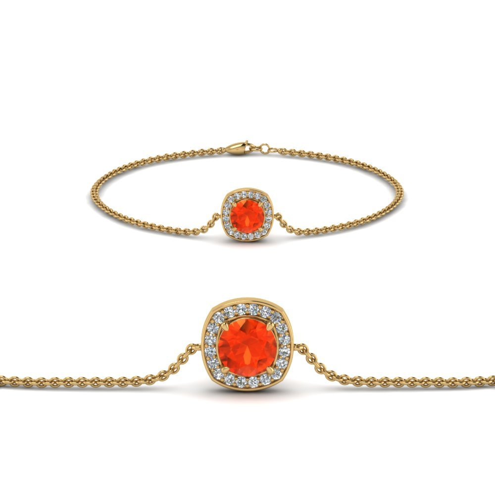 Halo Chain Orange Topaz Bracelet