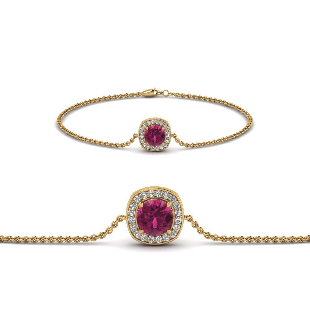 Halo Pink Sapphire Chain Bracelet