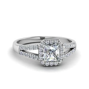 Halo Princess Cut Diamond Split Shank Engagement Ring In 14K White Gold