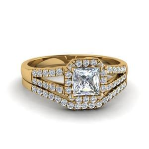 Split Shank Princess Diamond Ring Set