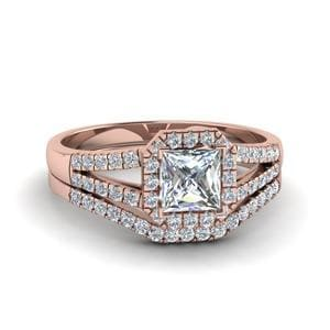 Halo Diamond Split Ring Set