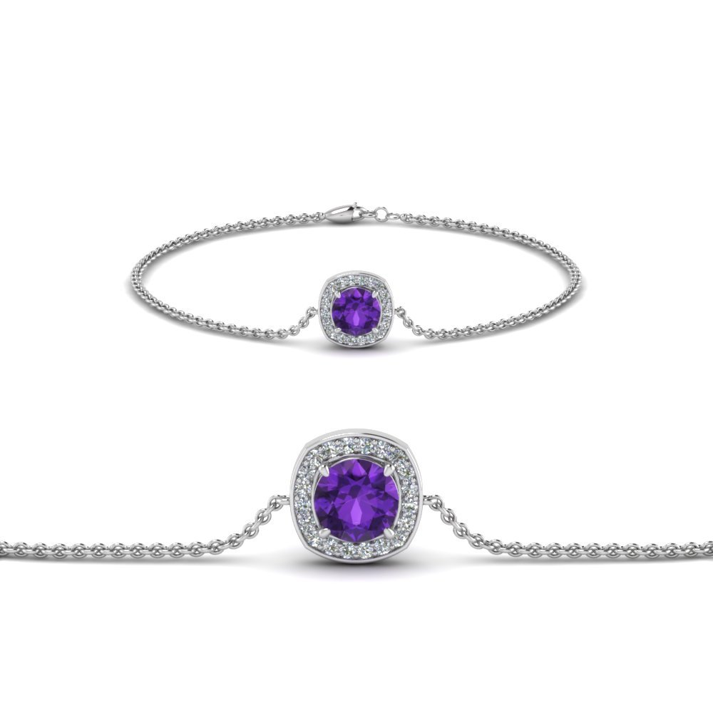 Purple Topaz Halo Diamond Bracelet