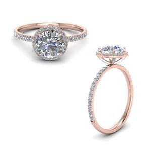 Studded Prong Halo Round Diamond Ring In 18K Rose Gold
