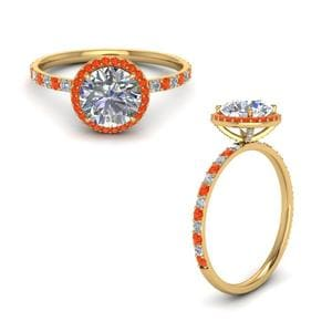 Prong Round Halo Orange Topaz Ring