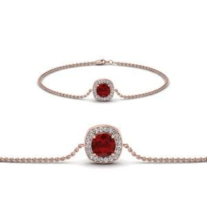 Halo Ruby And Diamond Chain Bracelet In 14K Rose Gold