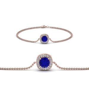 Halo Sapphire And Diamond Chain Bracelet In 14K Rose Gold