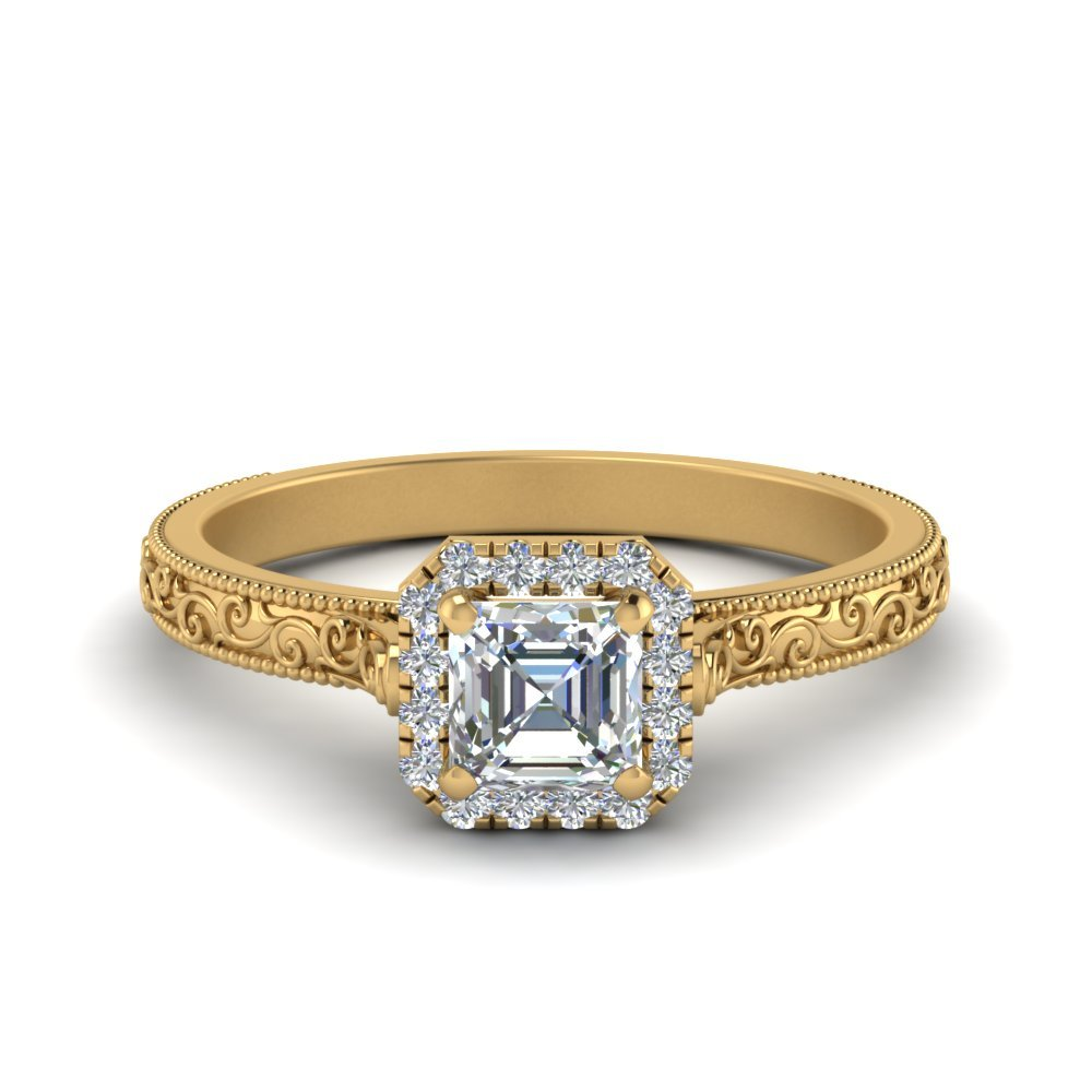 Hand Engraved Asscher Cut Halo Diamond Engagement Ring In 14K Yellow Gold