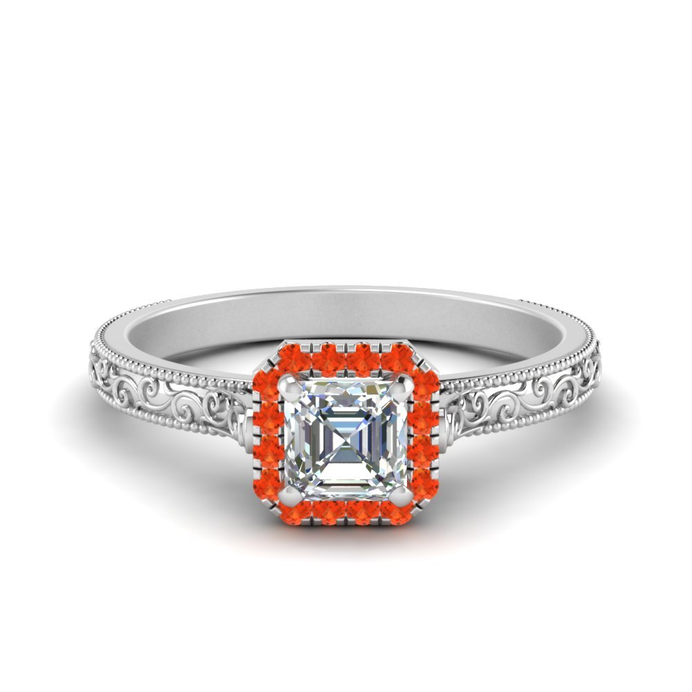 Engraved Orange Topaz Ring