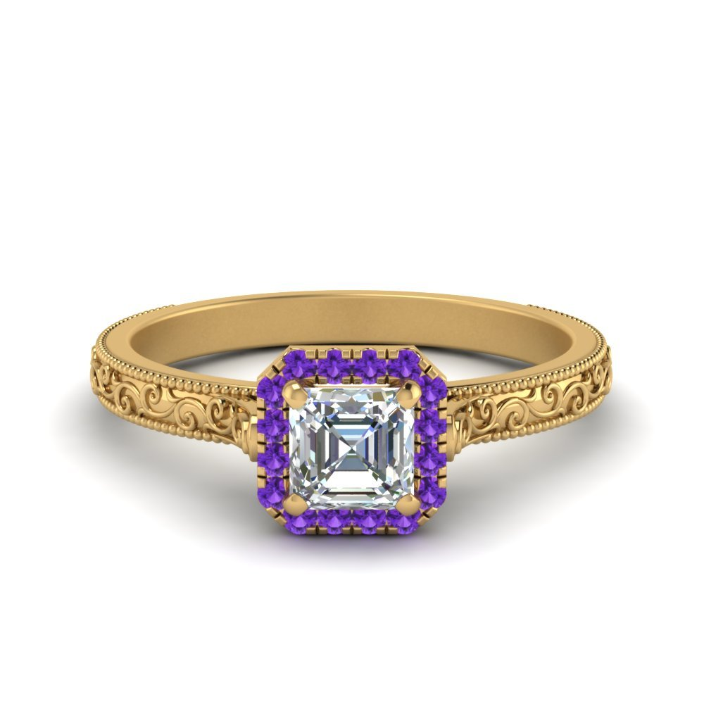 Halo Vintage Purple Topaz Ring