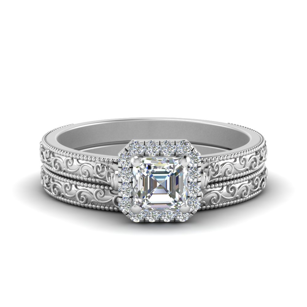 Halo Wedding Ring Set Asscher Cut