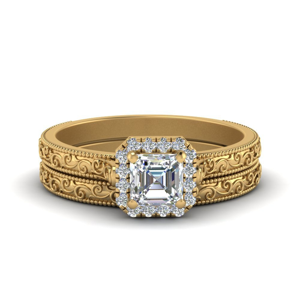 Hand Engraved Asscher Cut Halo Diamond Wedding Ring Set In 14K Yellow Gold