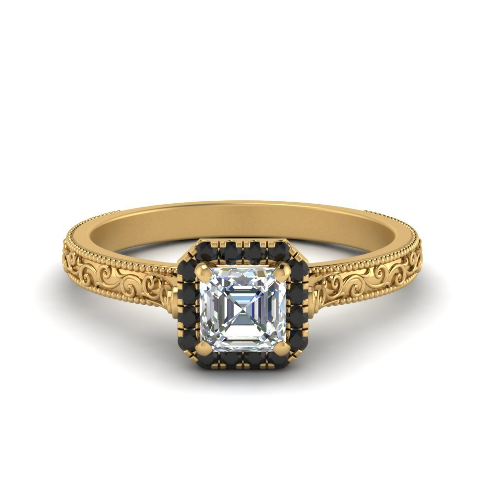 Antique Halo Black Diamond Ring