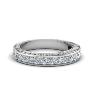 Hand Engraved Contour Diamond Wedding Band In 14K White Gold