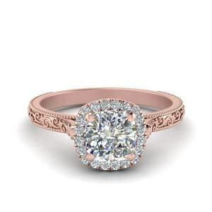 Hand Engraved Cushion Cut Halo Diamond Engagament Ring In 14K Rose Gold