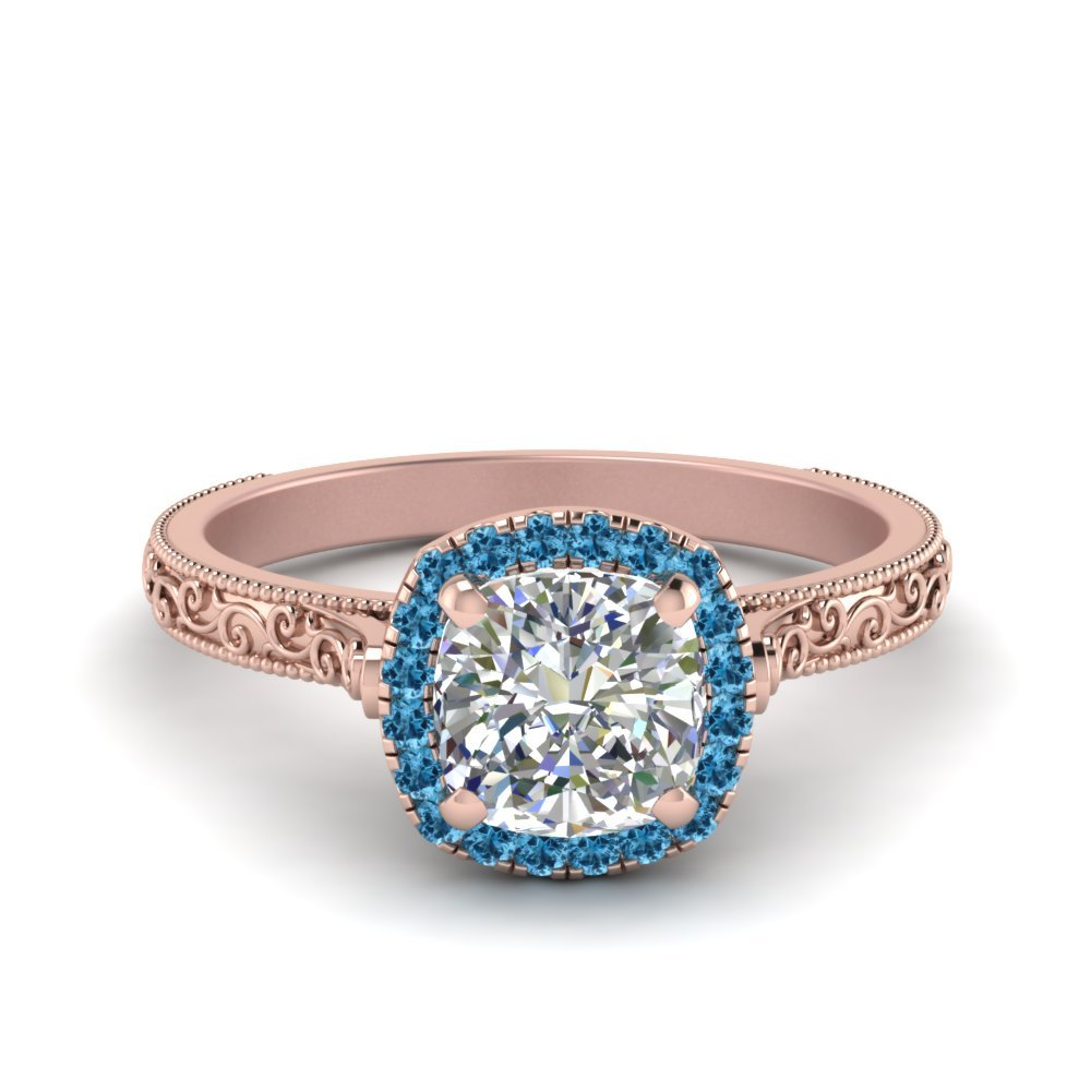 Hand Engraved Cushion Cut Halo Diamond Engagament Ring With Blue Topaz In 18K Rose Gold