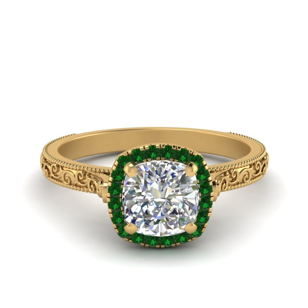 Hand Engraved Cushion Cut Halo Diamond Engagament Ring With Emerald In 14K Yellow Gold
