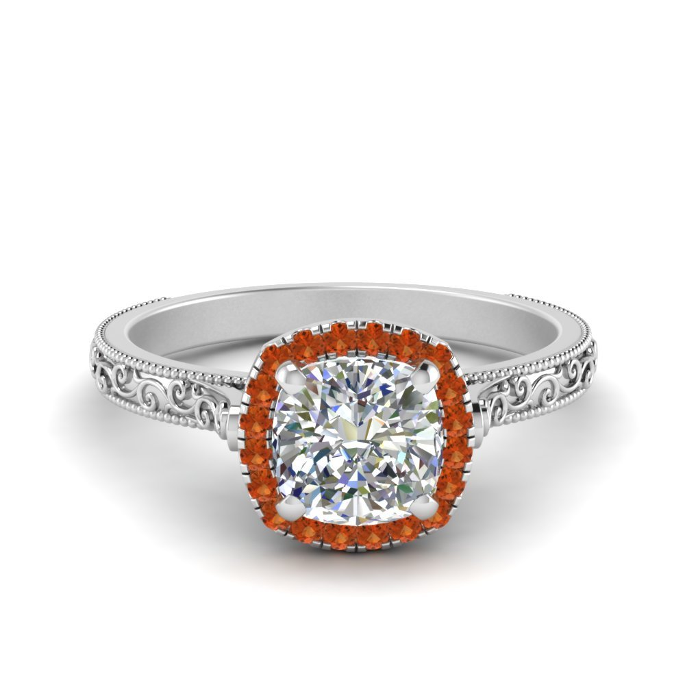 Hand Engraved Cushion Cut Halo Diamond Engagament Ring With Orange Sapphire In 18K White Gold