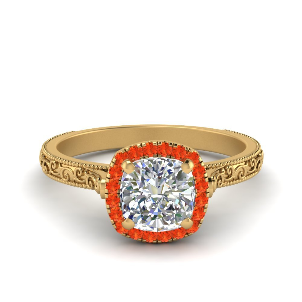 Hand Engraved Cushion Cut Halo Diamond Engagament Ring With Orange Topaz In 14K Yellow Gold
