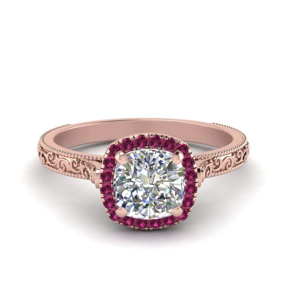 Hand Engraved Cushion Cut Halo Diamond Engagament Ring With Pink Sapphire In 14K Rose Gold