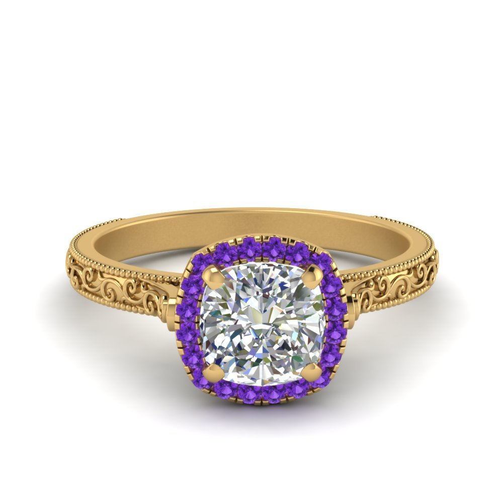 Hand Engraved Cushion Cut Halo Diamond Engagament Ring With Purple Topaz In 18K Yellow Gold