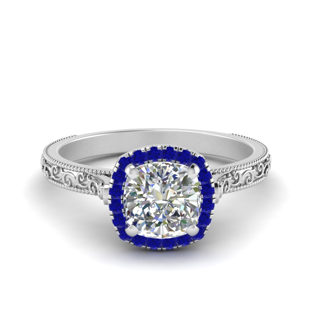 Hand Engraved Cushion Cut Halo Diamond Engagament Ring With Sapphire In 14K White Gold
