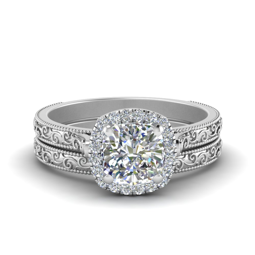 Halo Cushion Wedding Ring Set