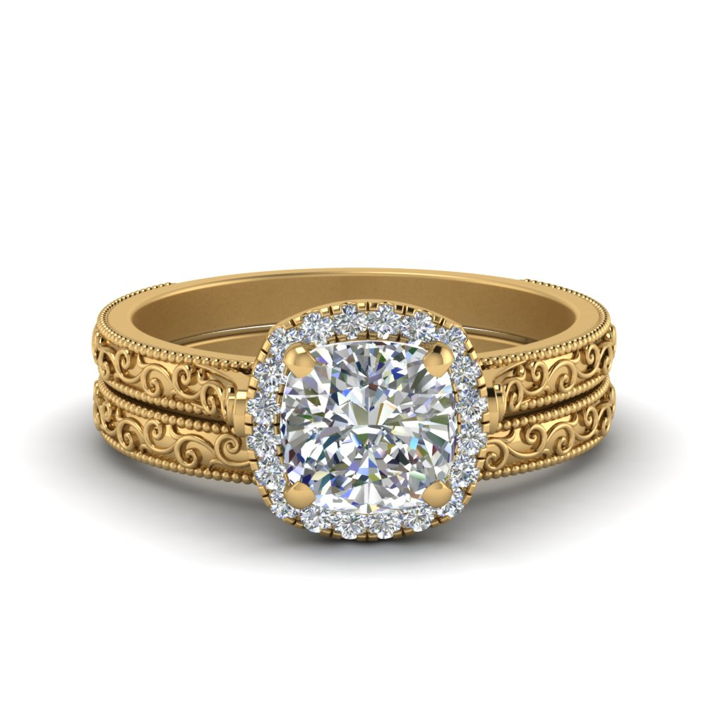 Hand Engraved Cushion Cut Halo Diamond Wedding Ring Set In 14K Yellow Gold