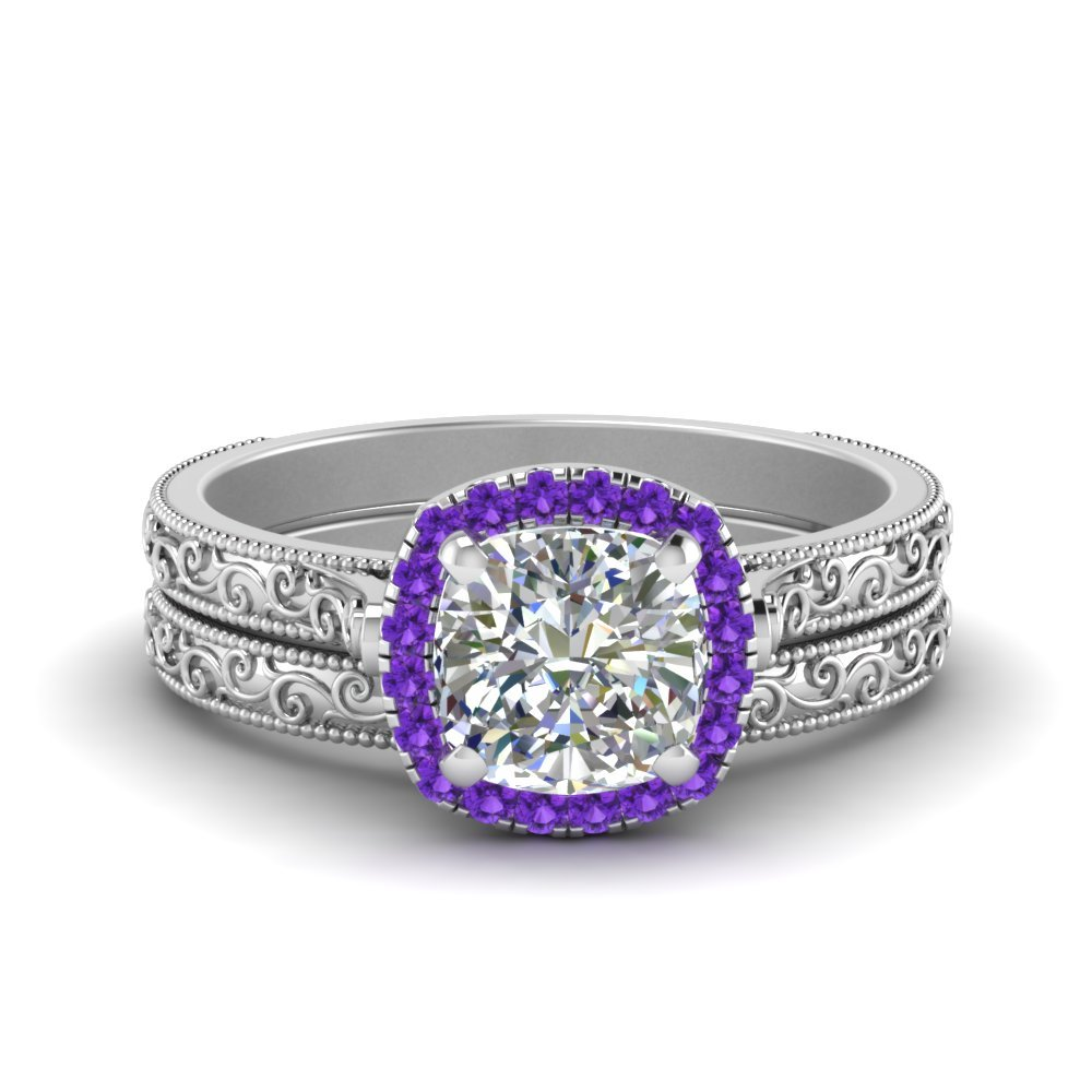 Engraved Purple Topaz Bridal Set