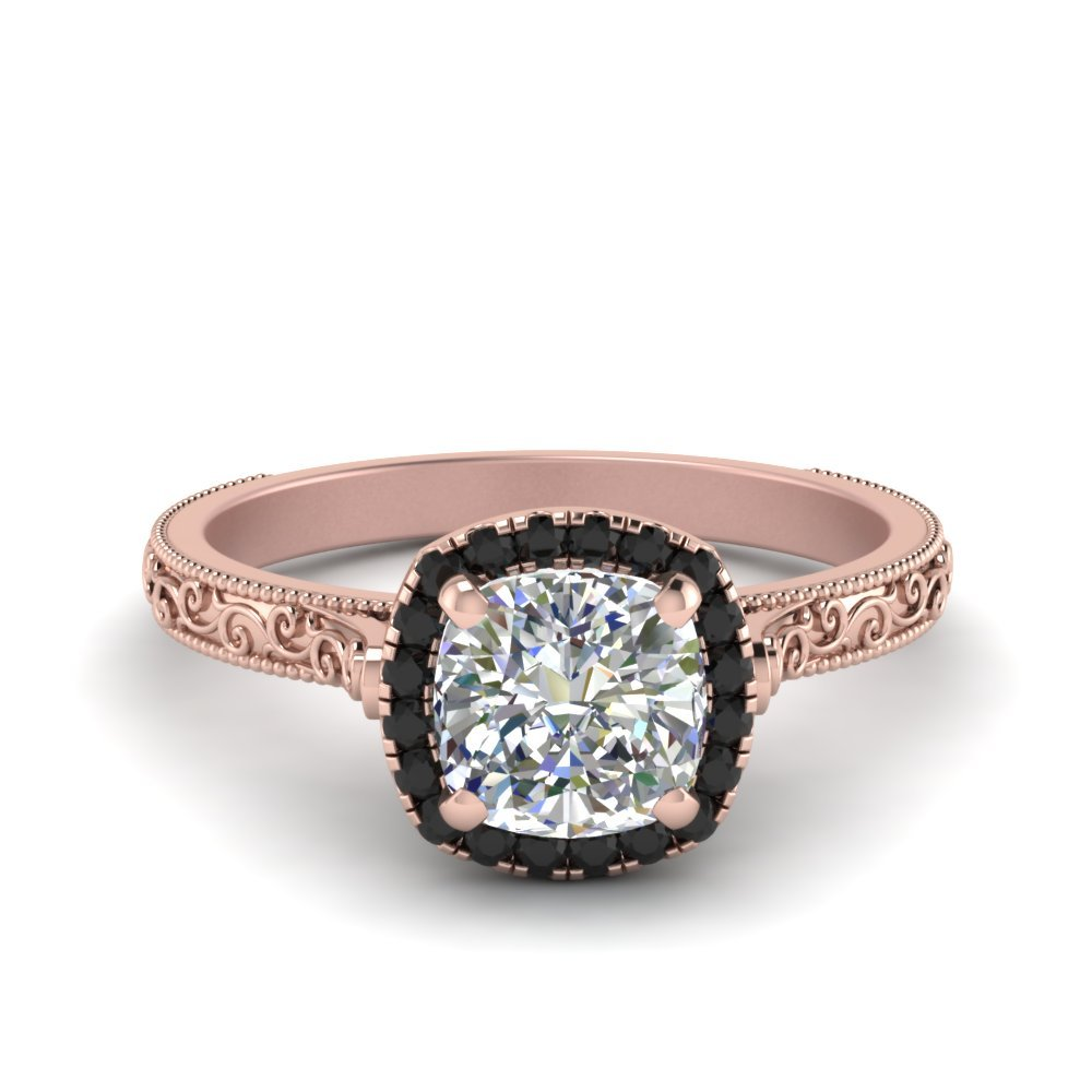 Hand Engraved Cushion Cut Halo Engagament Ring With Black Diamond In 14K Rose Gold