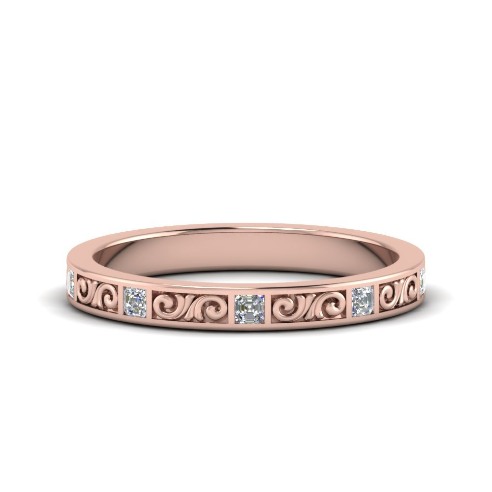 Hand Engraved Diamond Anniversary Band Gifts In 18K Rose Gold