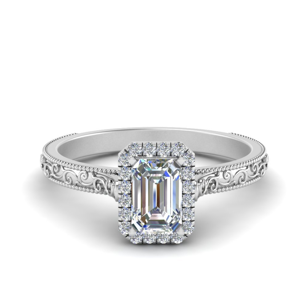 Hand Engraved Emerald Cut Halo Diamond Engagement Ring In 14K White Gold