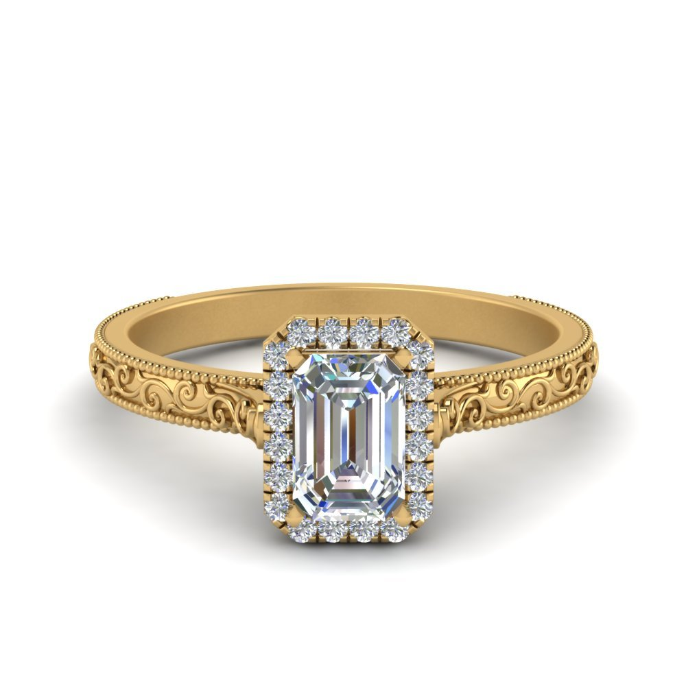 Hand Engraved Emerald Cut Halo Diamond Engagement Ring In 14K Yellow Gold