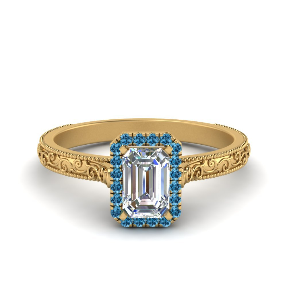 Hand Engraved Emerald Cut Halo Diamond Engagement Ring With Blue Topaz In 14K Yellow Gold