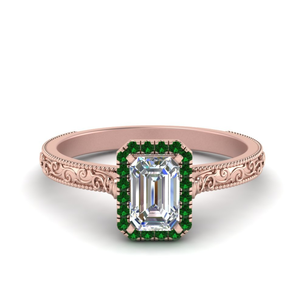 Hand Engraved Emerald Cut Halo Diamond Engagement Ring With Emerald In 18K Rose Gold