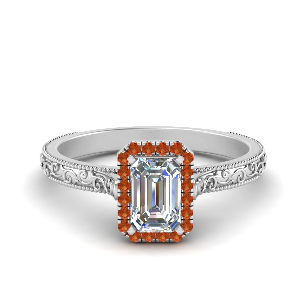 Hand Engraved Emerald Cut Halo Diamond Engagement Ring With Orange Sapphire In 18K White Gold