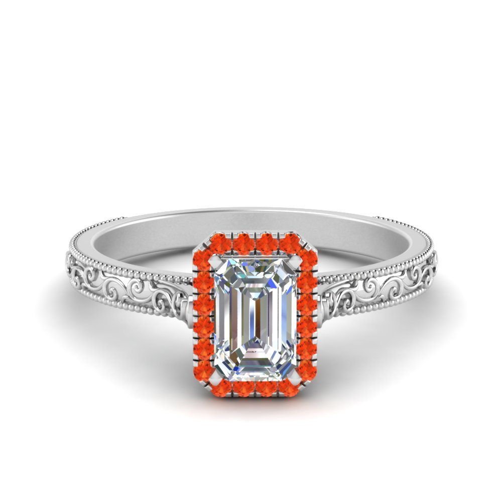 Hand Engraved Emerald Cut Halo Diamond Engagement Ring With Orange Topaz In 14K White Gold