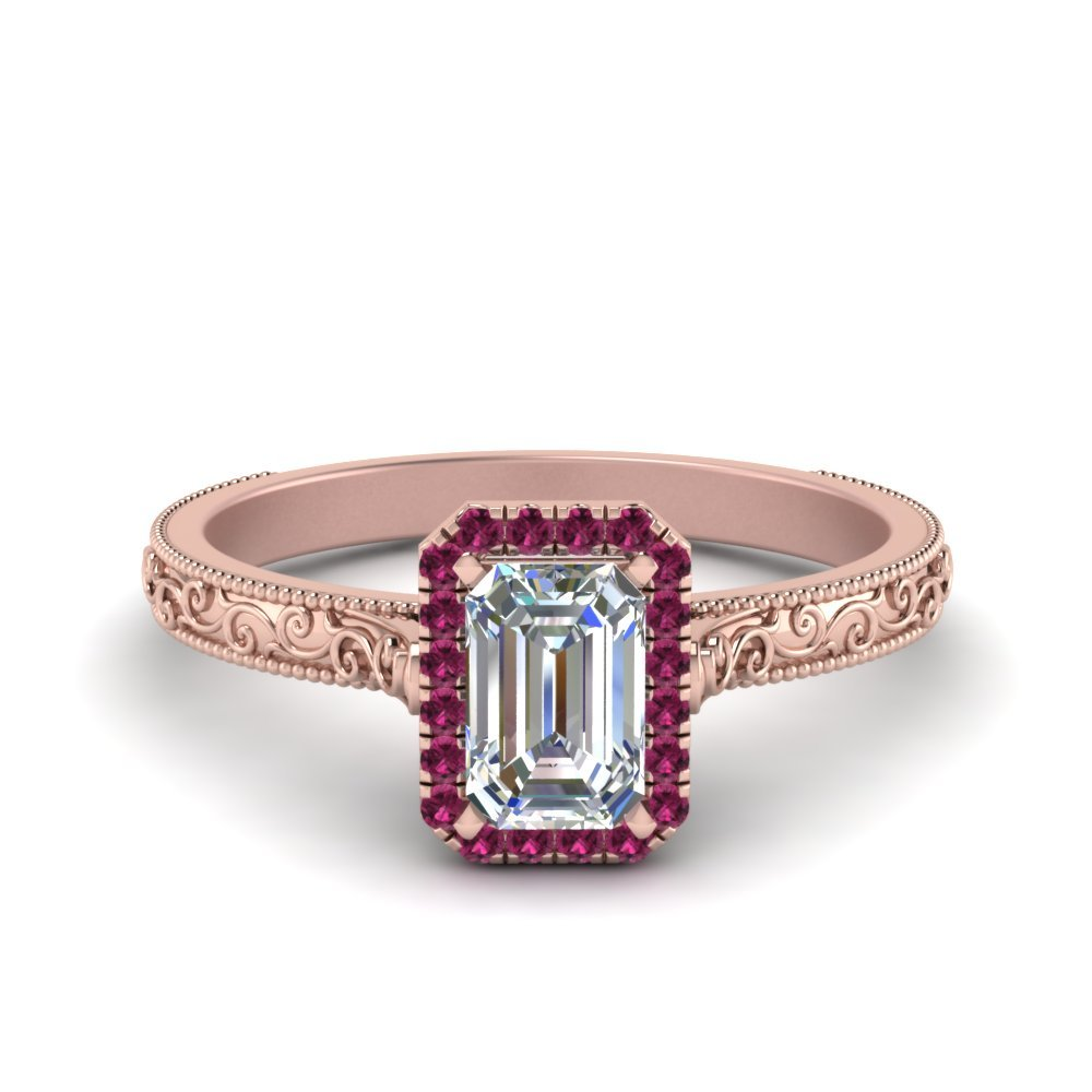 Hand Engraved Emerald Cut Halo Diamond Engagement Ring With Pink Sapphire In 14K Rose Gold