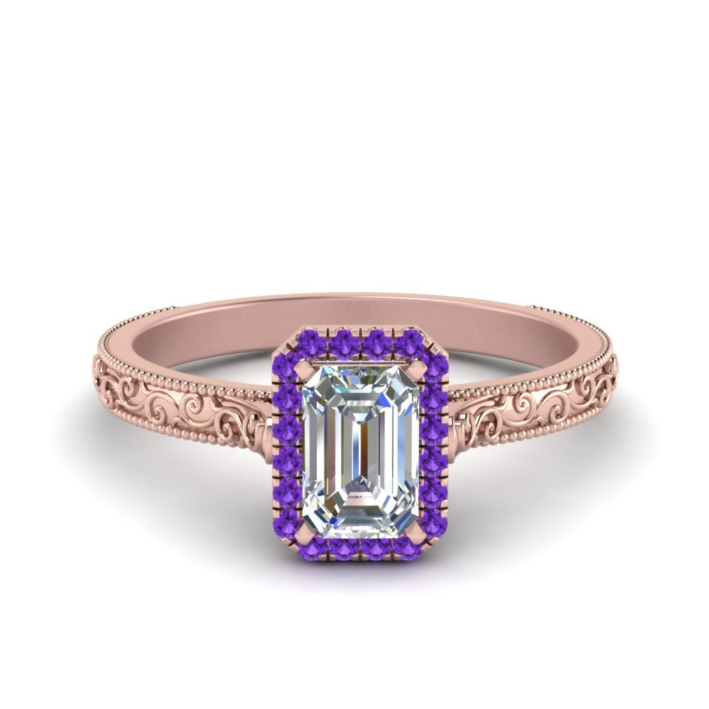 Hand Engraved Emerald Cut Halo Diamond Engagement Ring With Purple Topaz In 14K Rose Gold
