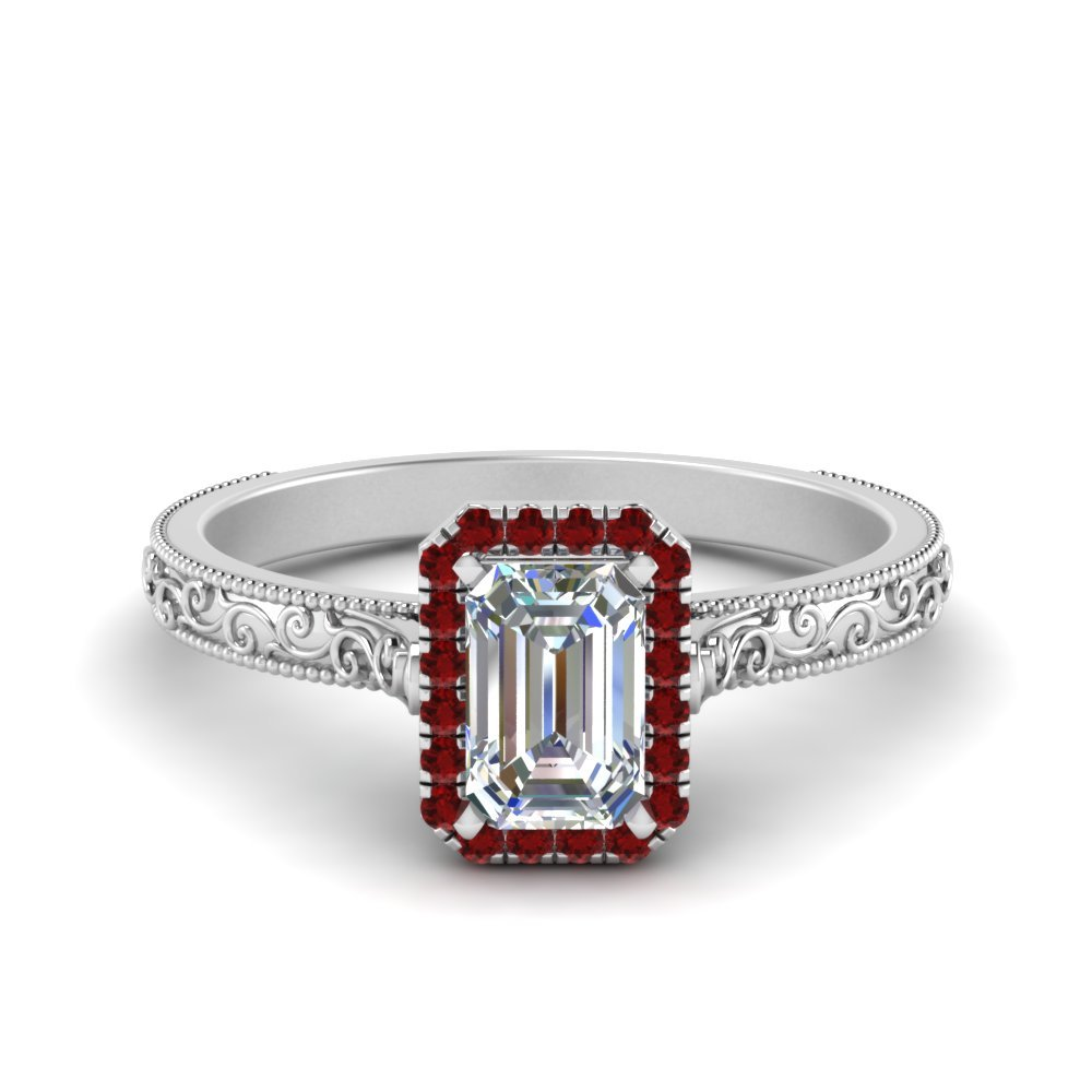 Hand Engraved Emerald Cut Halo Diamond Engagement Ring With Ruby In 18K White Gold