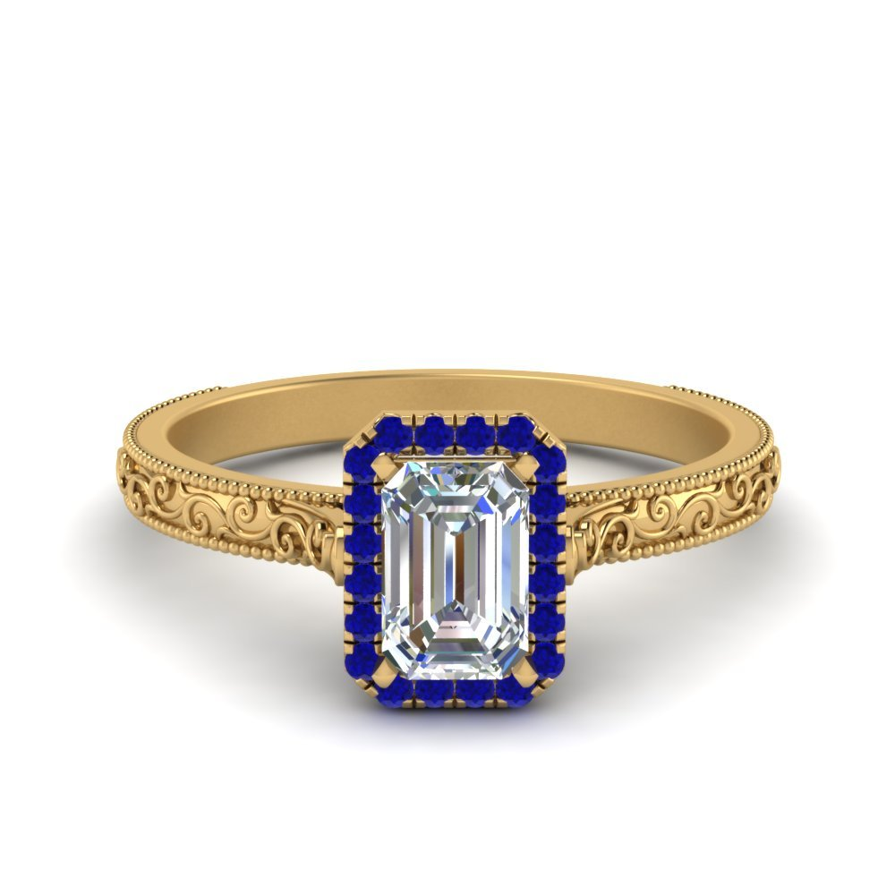 Hand Engraved Emerald Cut Halo Diamond Engagement Ring With Sapphire In 14K Yellow Gold