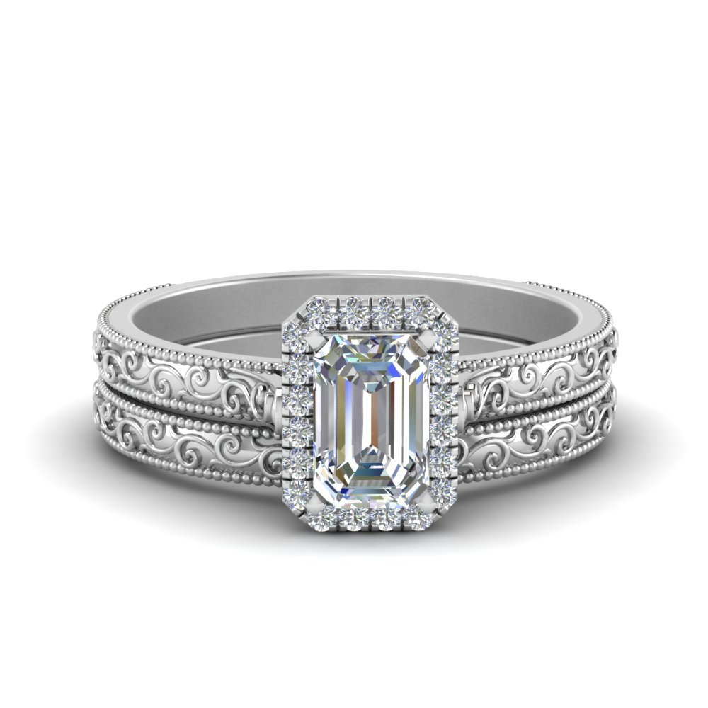 Hand Engraved Emerald Cut Halo Diamond Wedding Ring Set In 18K White Gold
